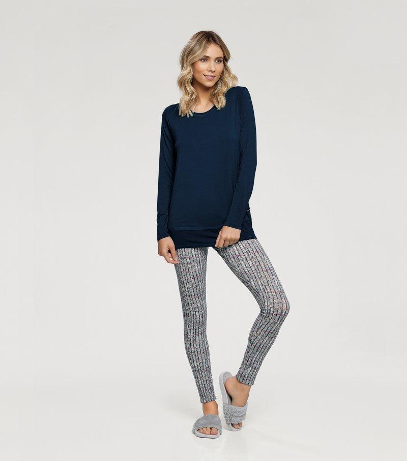 Pijama Manga Longa com Legging - 10925