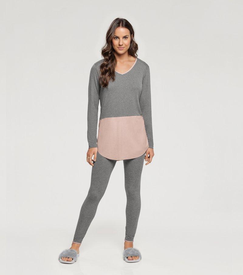 Pijama Manga Longa com Legging - 10908