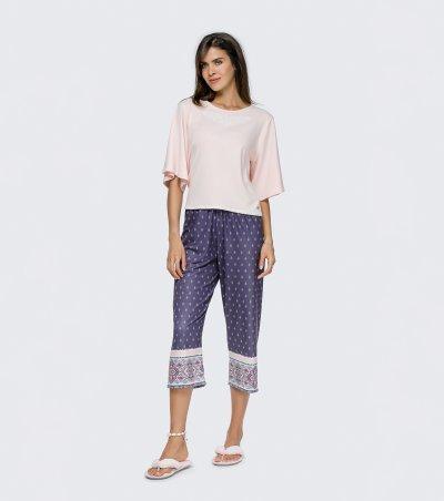 Pijama Manga Curta com Calça Midi - 12162