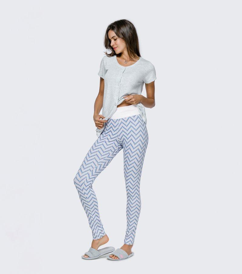Pijama Manga Curta com Legging e Abertura - 12098