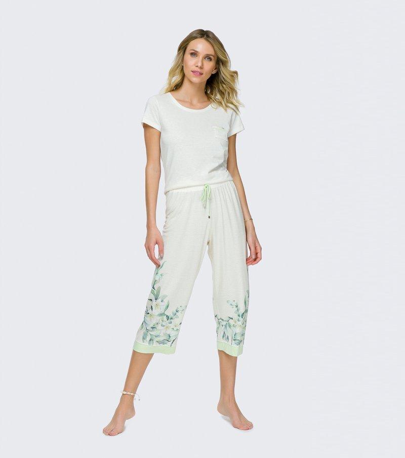 Pijama Manga Curta com Calça Midi - 12076