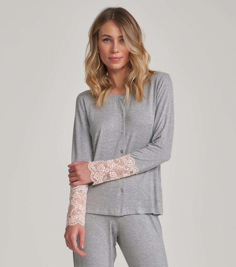 Pijama Manga Longa com Abertura - 12324