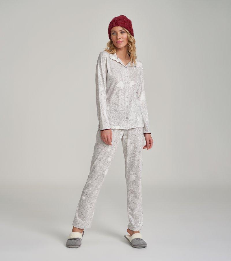 Pijama Manga Longa com Abertura - 12234