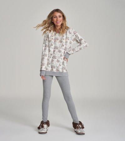 Pijama Manga Longa com Legging - 12222