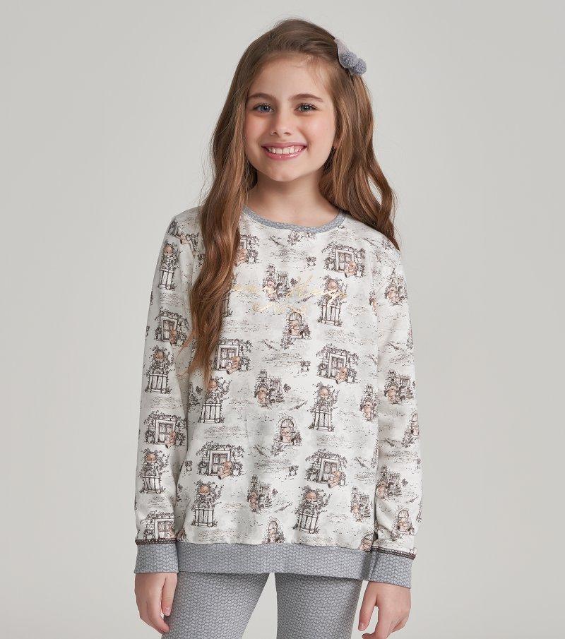 Pijama Manga Longa com Legging Infantil - 67453