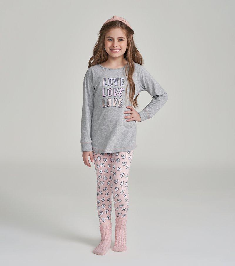 Pijama Manga Longa com Legging Infantil - 67469