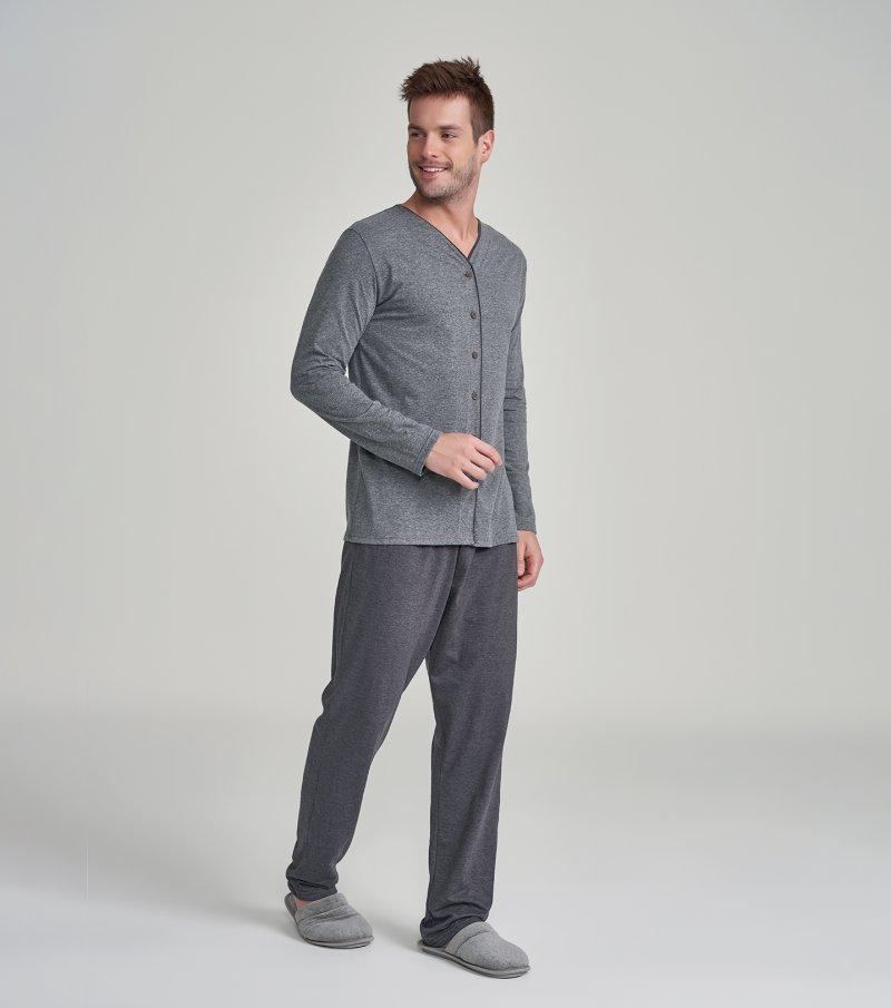 Pijama Manga Longa com Abertura - 30033