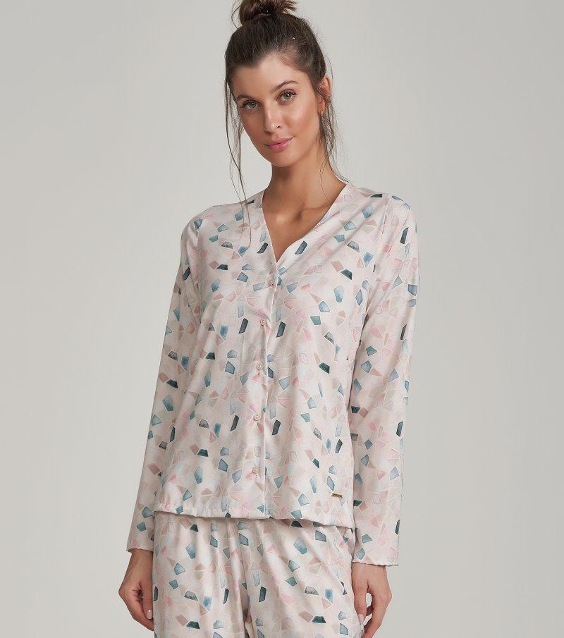 Pijama Manga Longa com Abertura e Calça Midi - 11094