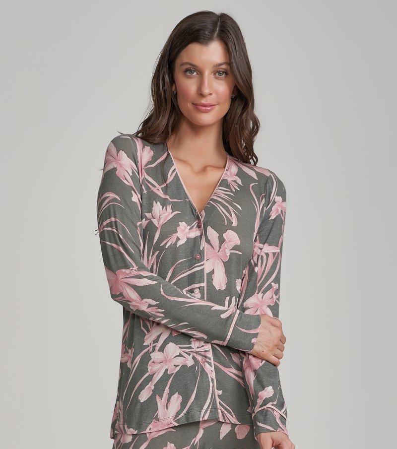 Pijama Manga Longa com Abertura - 12213