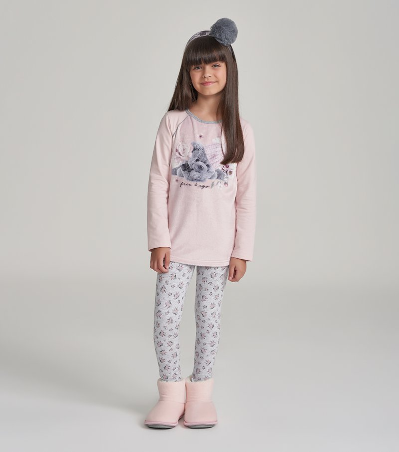 Pijama Manga Longa Com Legging Infantil - 67463