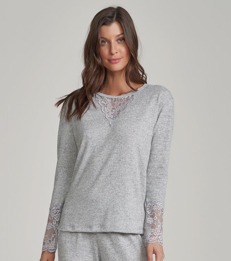 Pijama Manga Longa com Calça Flare - 12210