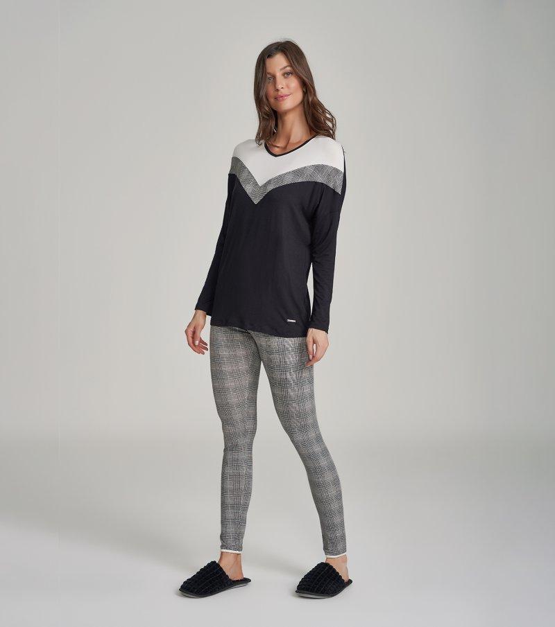 Pijama Manga Longa com Legging - 12259
