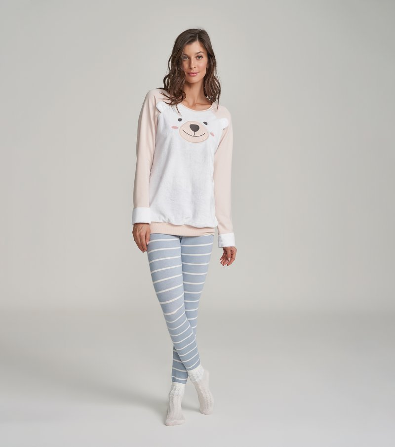 Pijama Manga Longa com Legging - 12192