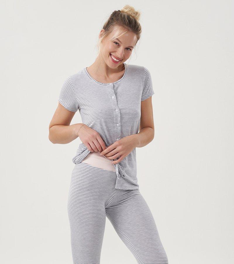Pijama Manga Curta Com Legging e Abertura - 12465