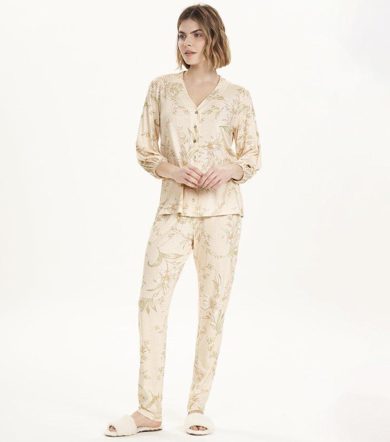 Pijama Manga Longa com Abertura - 12676