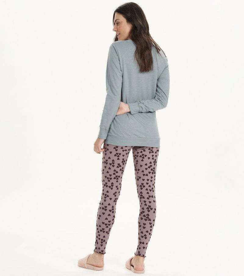 Pijama Manga Longa Com Legging - 12565