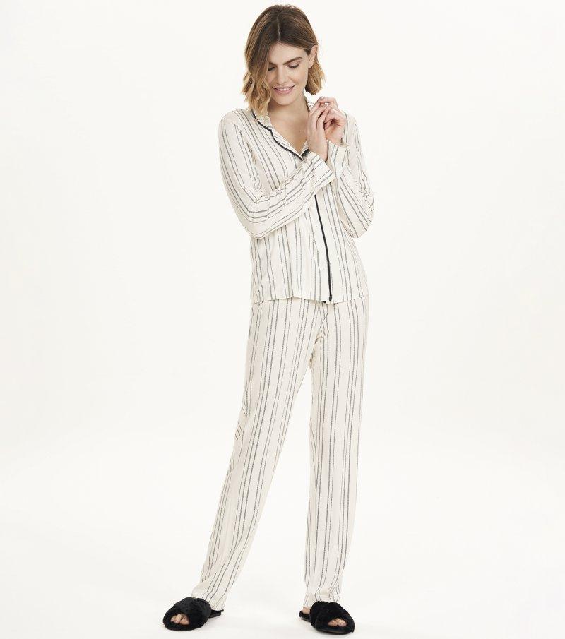 Pijama Manga Longa com Abertura - 12593