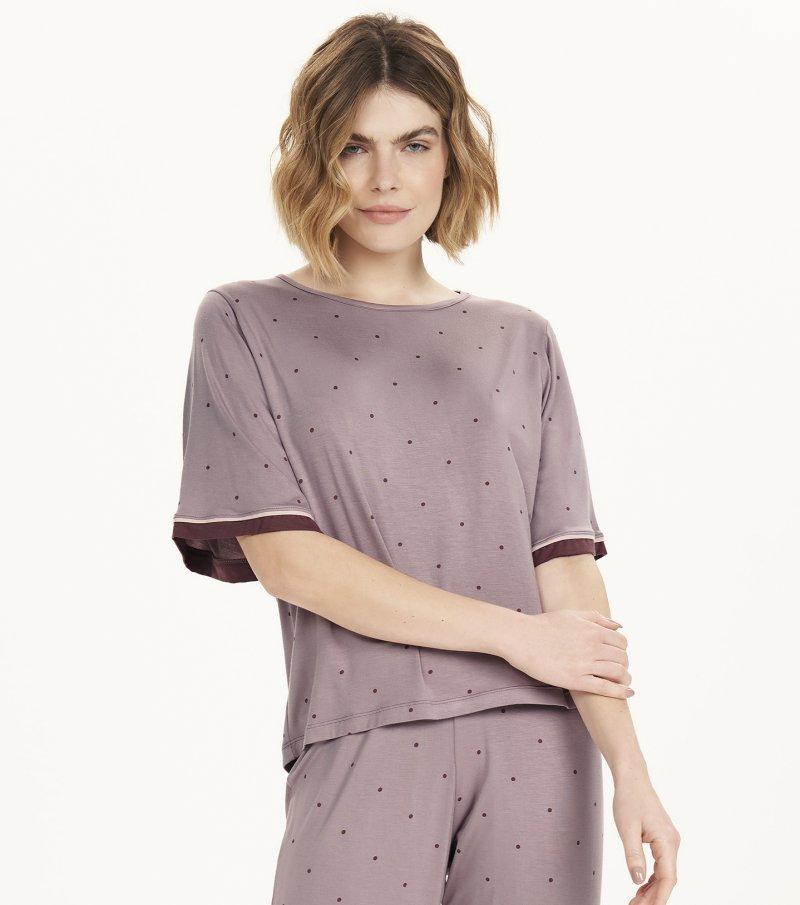 Pijama Manga Curta com Calça Midi - 12598