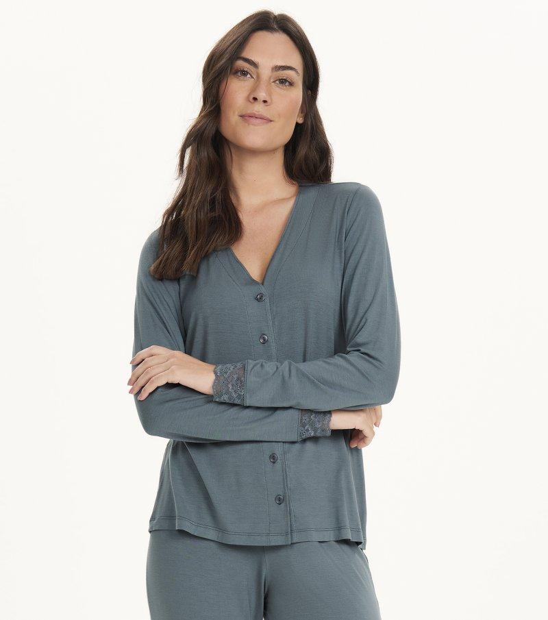 Pijama Manga Longa com Abertura - 12604