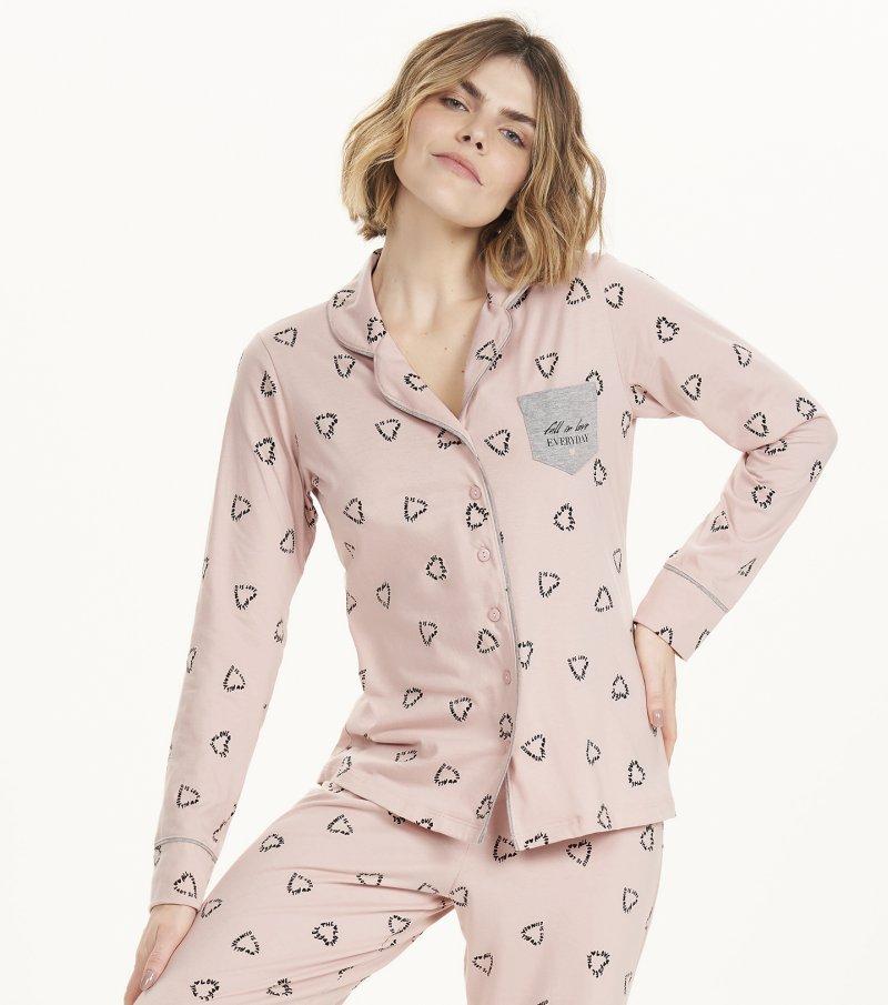 Pijama Manga Longa com Abertura - 12611