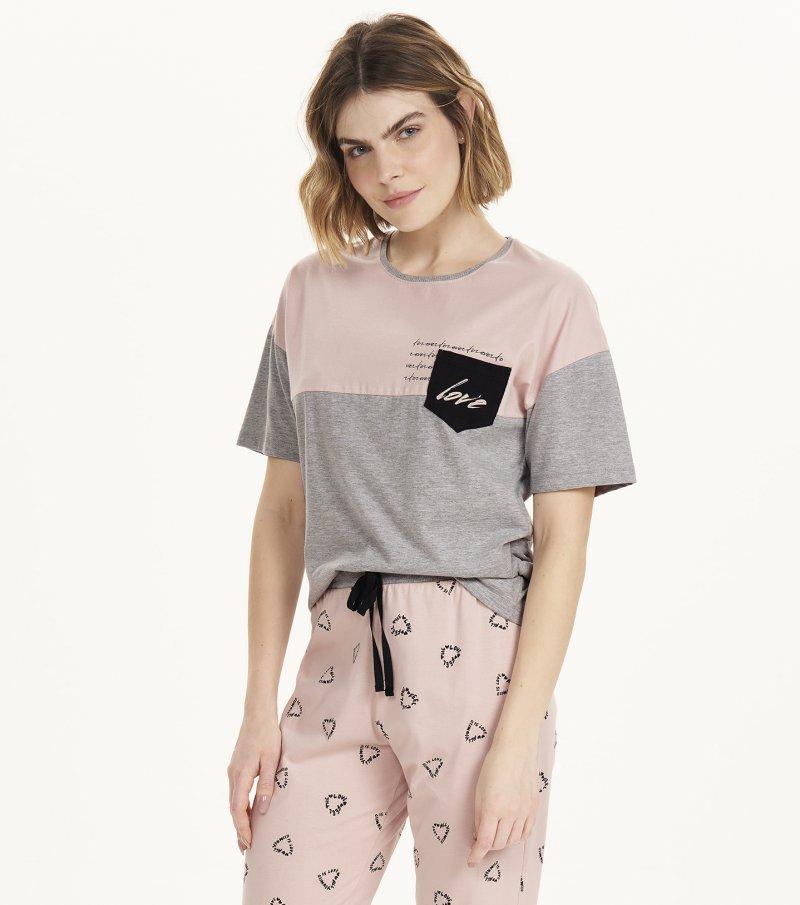 Pijama Manga Curta - 12613