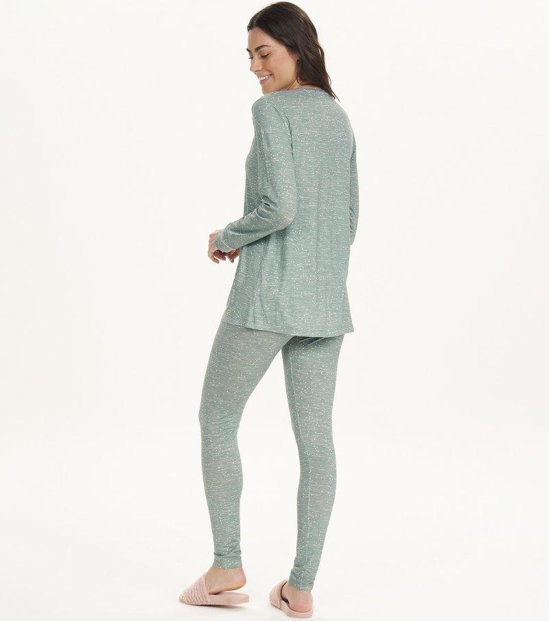 Pijama Manga Longa Com Legging e Abertura - 12640