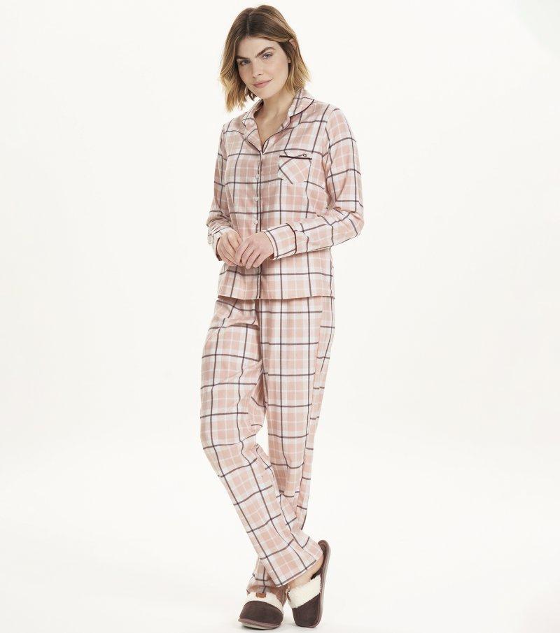 Pijama Manga Longa com Abertura - 12641
