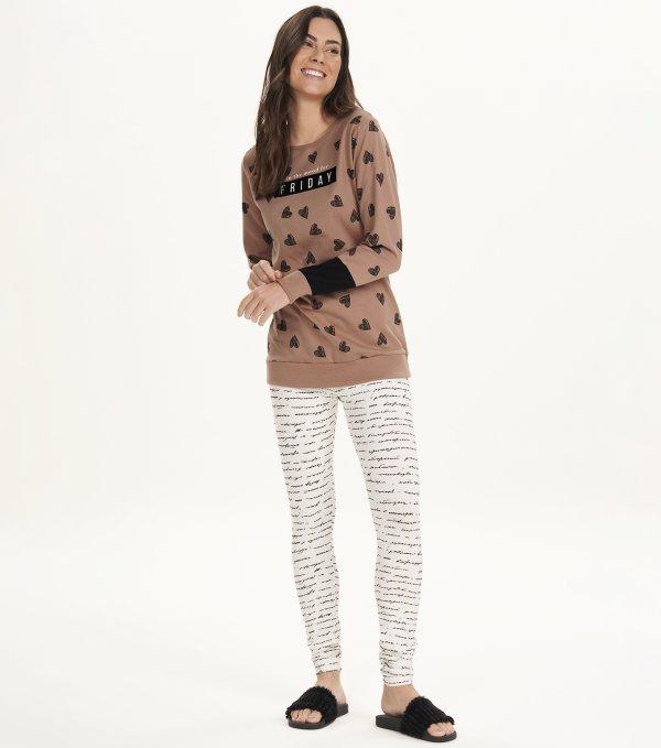 Pijama Manga Longa Com Legging - 12624