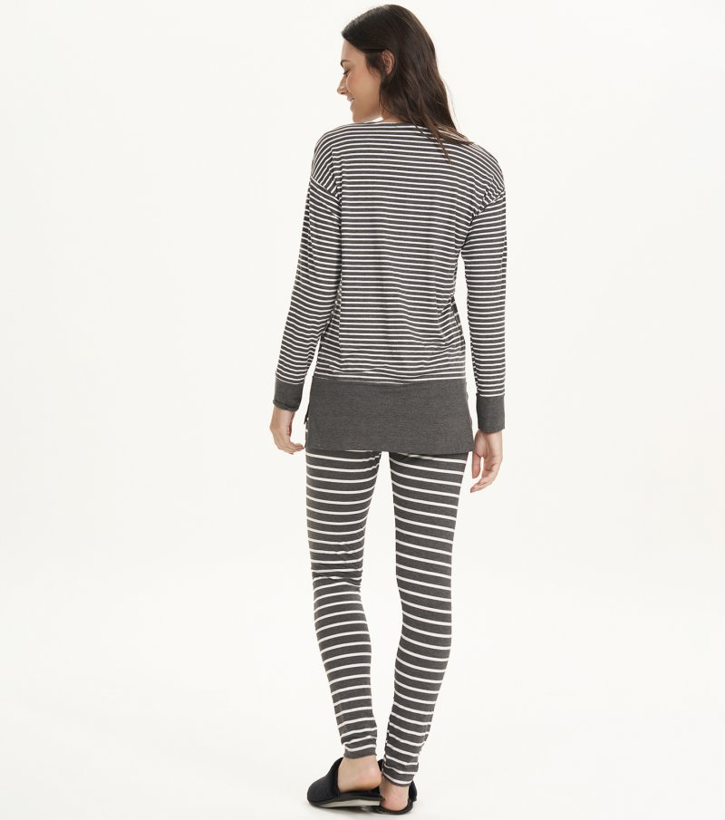 Pijama Manga Longa Com Legging - 12628