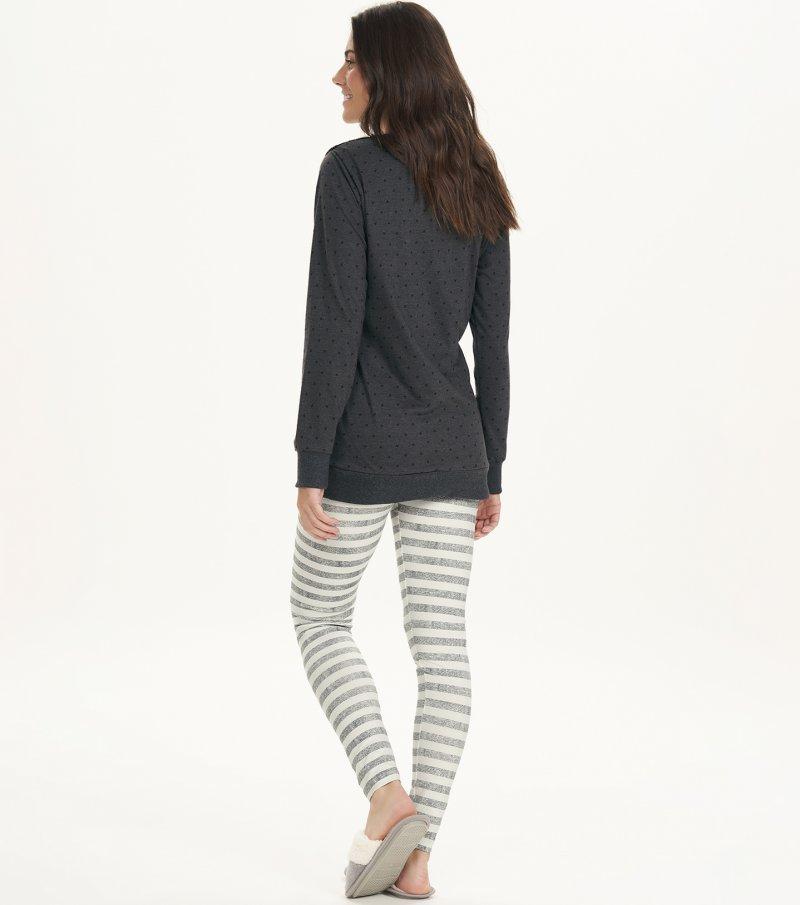 Pijama Manga Longa Com Legging - 12635