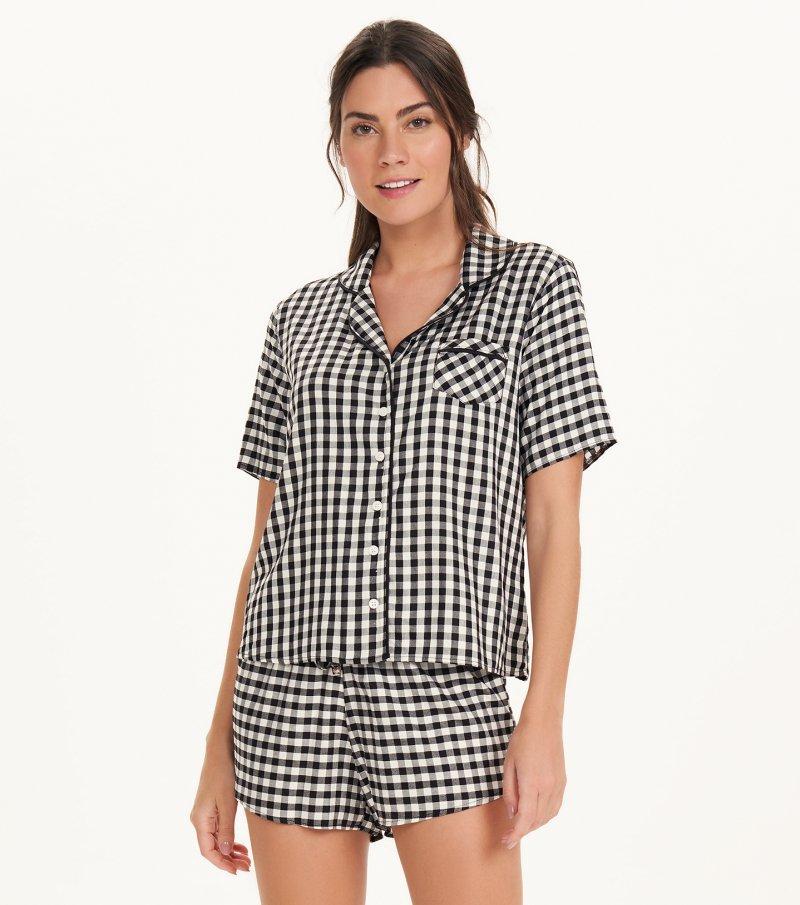 Pijama Manga Curta Com Abertura - 11167