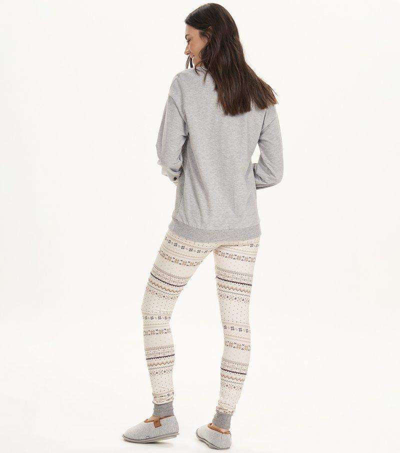 Pijama Manga Longa Com Legging - 12654