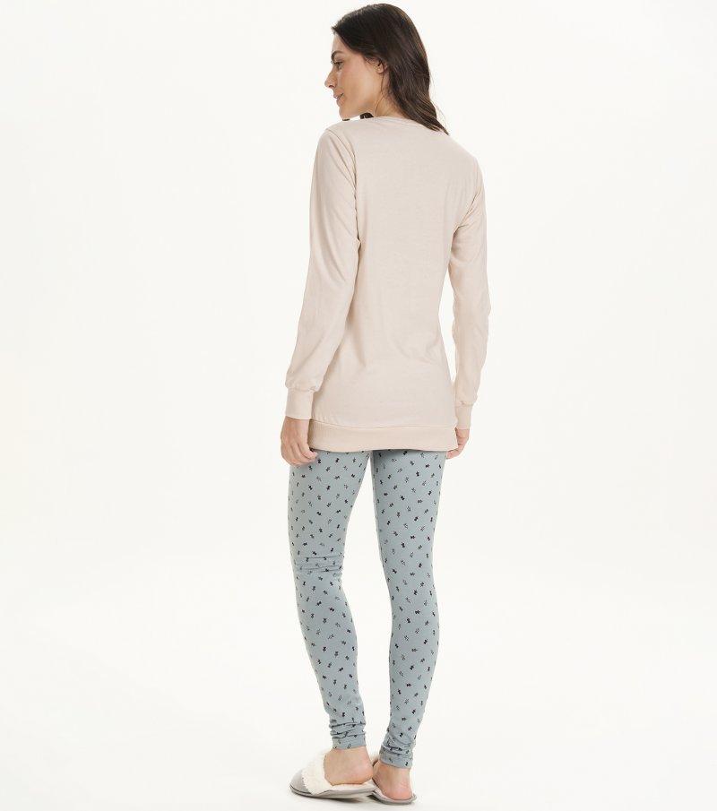 Pijama Manga Longa Com Legging - 12674
