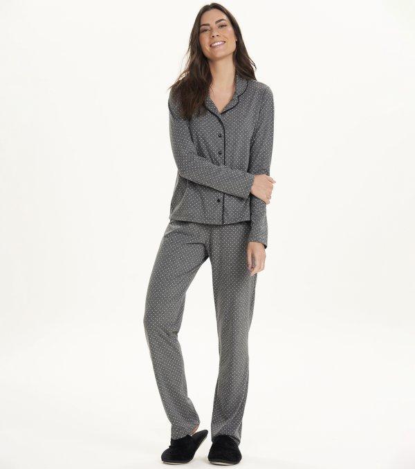 Pijama Manga Longa com Abertura - 12576