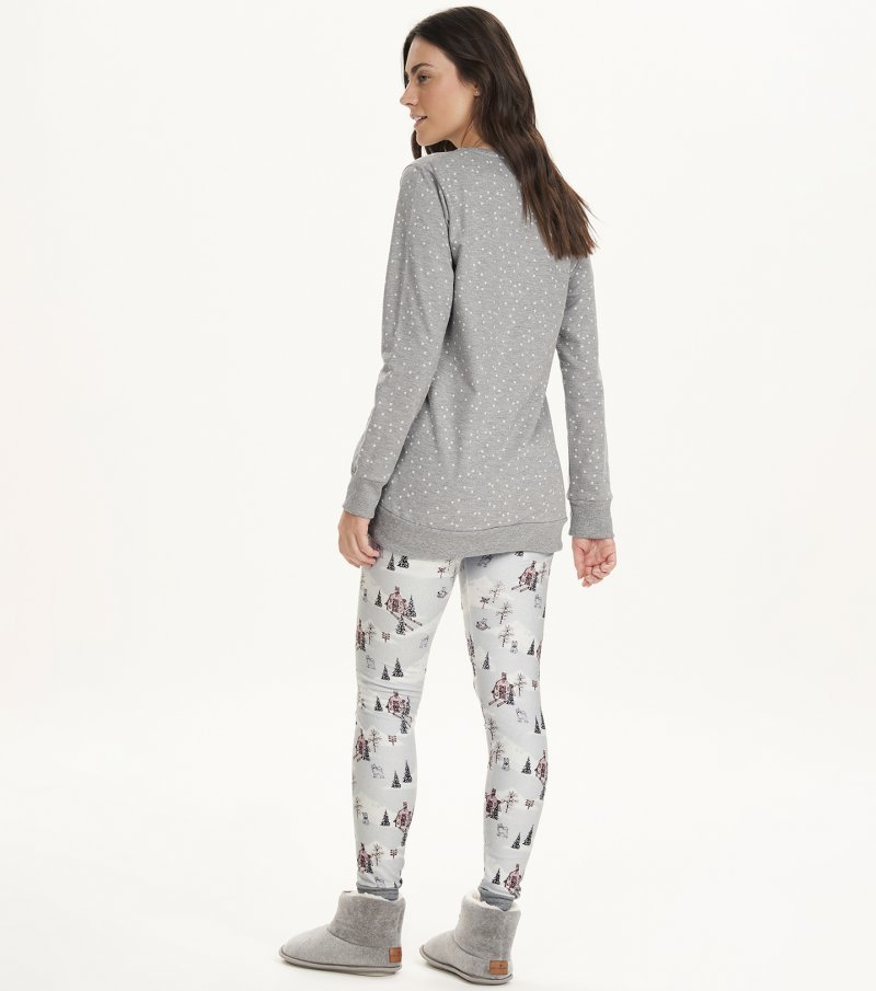 Pijama Manga Longa Com Legging - 12698