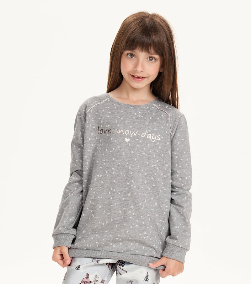 Pijama Manga Longa Com Legging Infantil - 67523