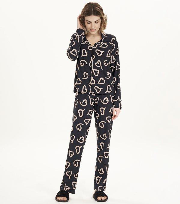 Pijama Manga Longa com Abertura - 12694