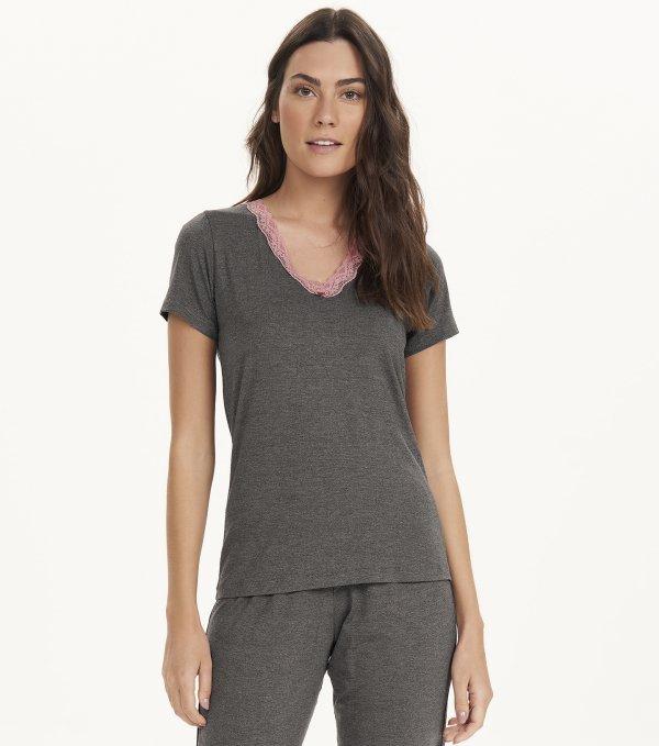 Pijama Manga Curta com Calça Midi - 12648