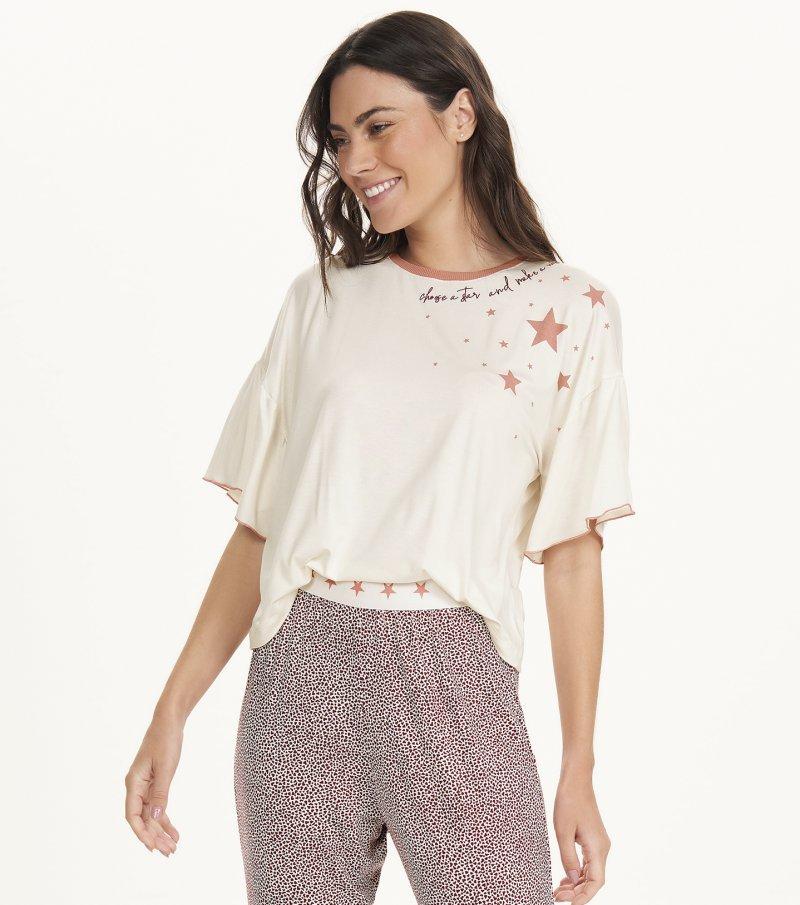 Pijama Manga Curta com Calça Midi - 12689