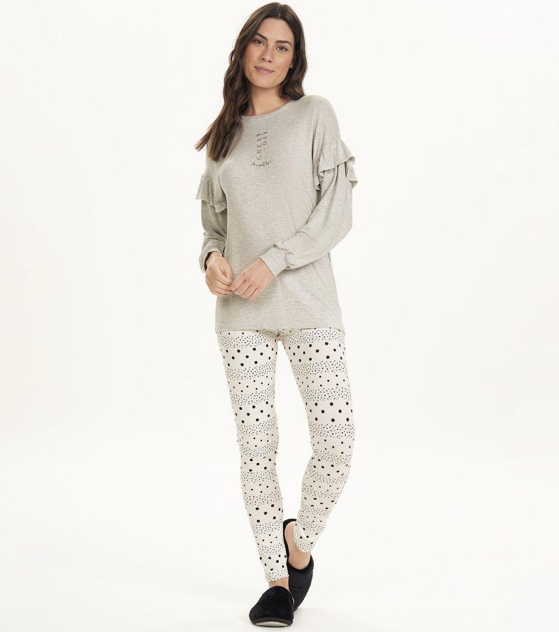 Pijama Manga Longa Com Legging - 12573