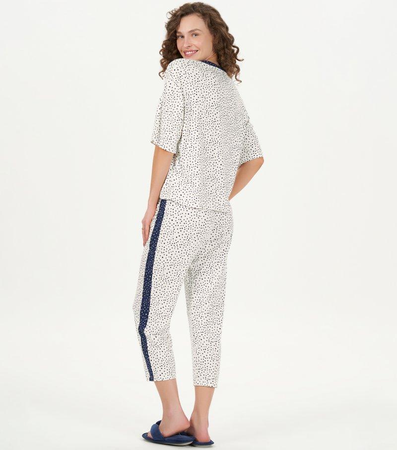 Pijama Manga Curta Com Calça Pantacourt - 12799