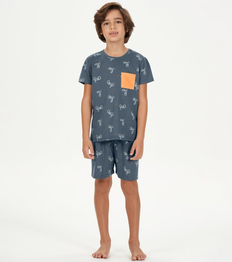 Pijama Manga Curta Infantil - 66397