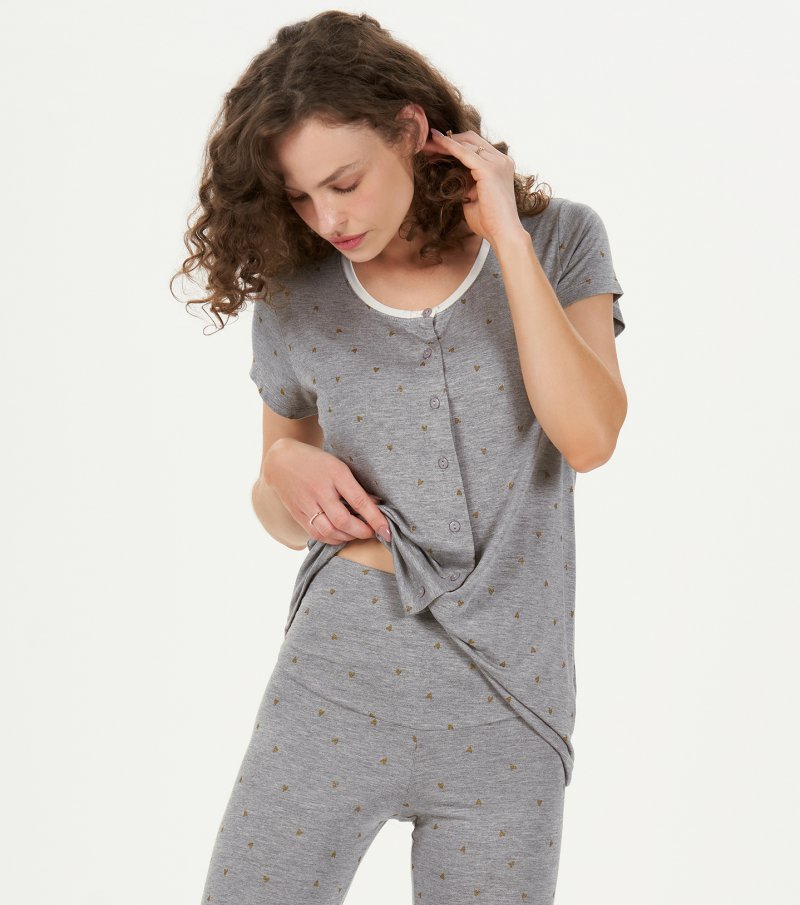 Pijama Manga Curta Abertura Com Legging - 12867