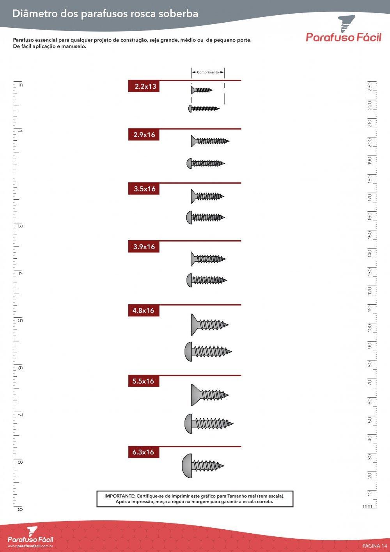 Diâmetro dos Parafusos Rosca Soberba