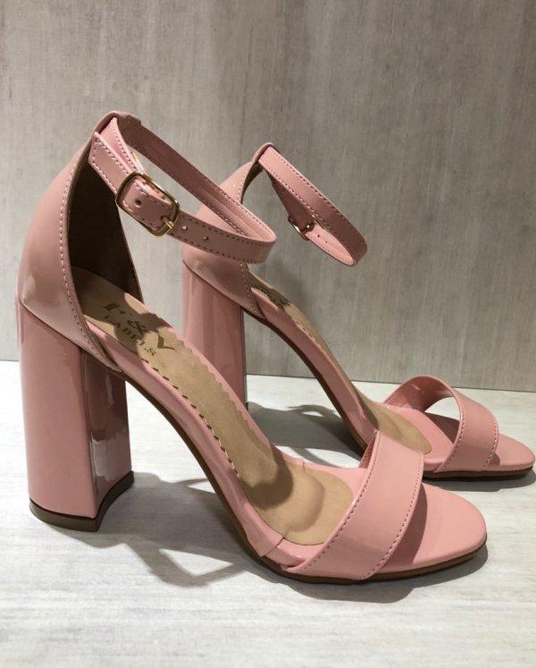Sandália Salto Grosso Rose