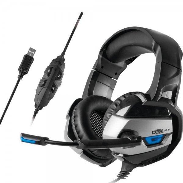 Headset Gamer Surround Cabo 2 Metros Revestido em Malha Dex - DF-101