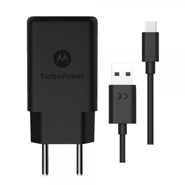 Carregador de Tomada Motorola Turbo Power, 1 Porta USB, Cabo USB-USB Tipo C, Preto - SJSC57-C