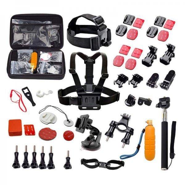 Kit de Acessórios para Action Cam Quanta QTSCA601 com Estojo Preto