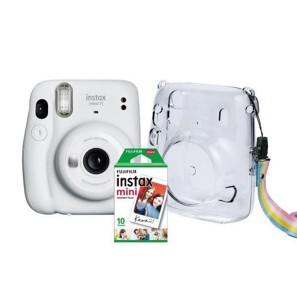 Kit Câmera Instantânea Fujifilm Instax Mini 11 Branca + Case Crystal + Filme 10 poses
