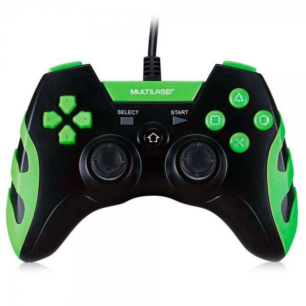 Controle Gamer Multilaser Com Fio (PS3 / PC)  Preto e Verde - JS091